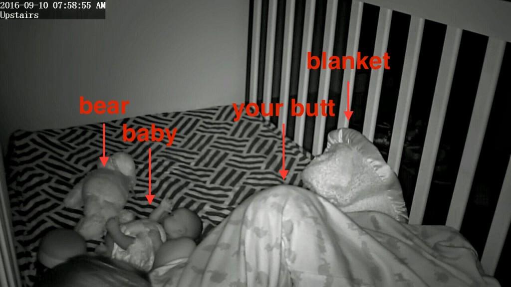 the scene in your crib, circa 8am