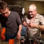 Bryan and Granddad pull pork