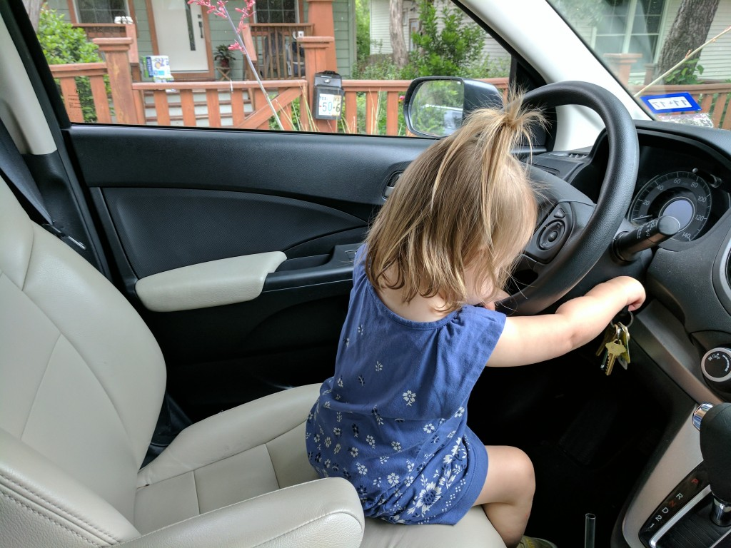 You request a little playtime in the car before we go in. You manage to start the engine. Sigh.