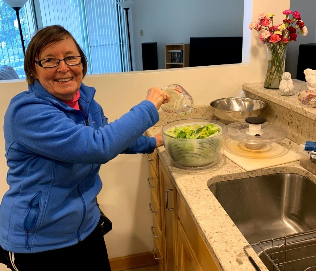Ann bleaches her lettuce.