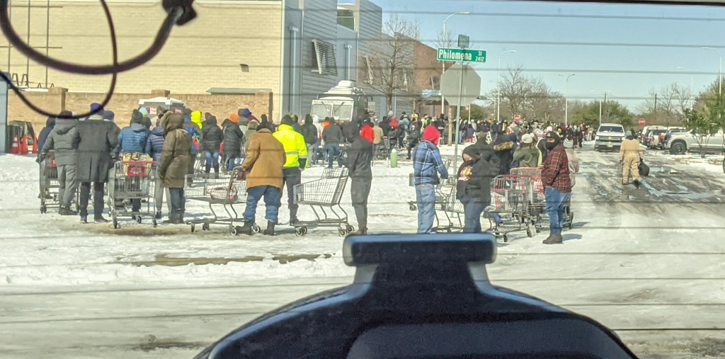 line at the HEB, through the rear window